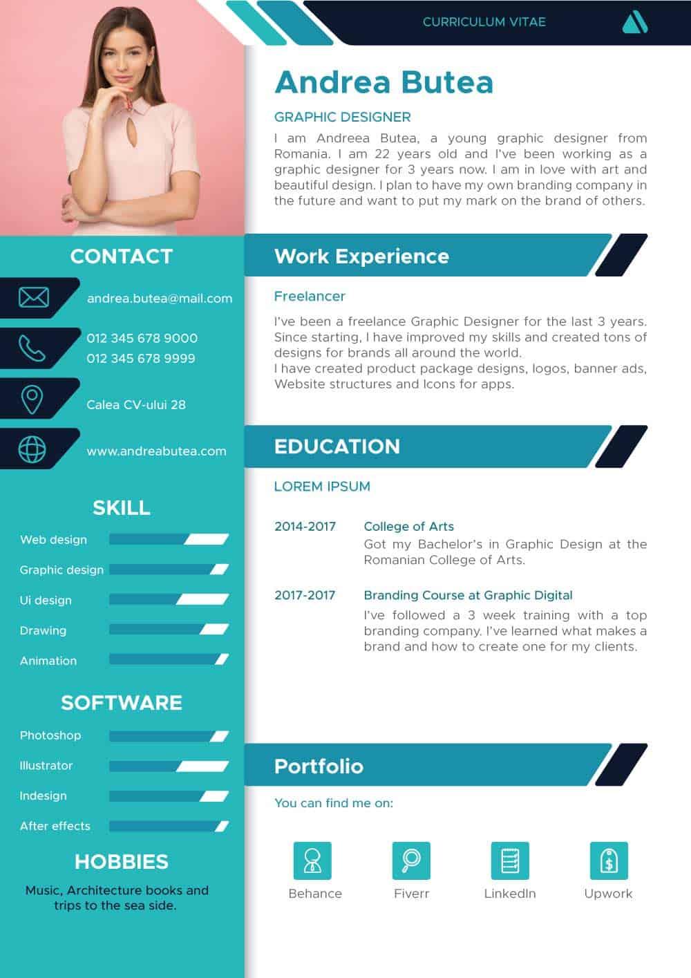 Exemplu CV engleza pentru graphic designer